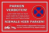 Schild - Parken verboten - Niemals hier parken - 30x20cm mit Bohrlöchern | stabile 3mm starke PVC Hartschaumplatte – S00020P-D +++ in 20 Varianten erhältlich