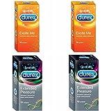 Durex Condoms Combo Pack - 10 Count (Pack of 4, Excite Me, Extended Pleasure)