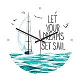 Vosarea Reloj de Pared de Madera Redondo Silencioso Reloj Decorativo para Dormitorio Sala Decoraciones de Pared Náuticas