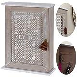 LS-LebenStil Holz Schlüsselkasten Grau Weiß 28x20cm 6 Haken Schlüsselbrett Vintage