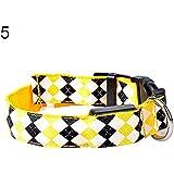 ALCYONEUS Verstellbar LED Nylon Hundehalsband Nachtzeit Sicherheit Leuchtend Kragen (M, gelb / yellow)