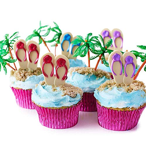 (24) Beach Flip Flop Cupcake Kit - (12) Rot Lila Blau Flip Flop Cupcake Picks (12) Palm Tree Novelties (30) Pink Folie Cupcake Liners - Sommer Party Swim Uns Brautschmuck Geburtstag Party