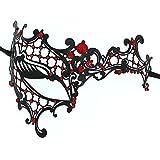 OUREIDOO Lolita Gothic Masquerade Partei Abendkleid Dame Metall Maske mit Crystal (schwarz)