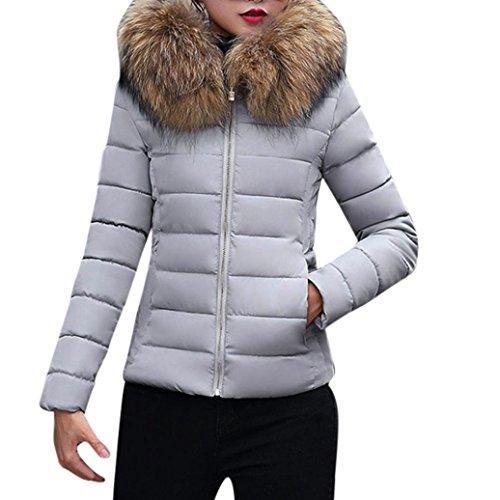 Kavitoz Damen Daunenmantel Schlank Entworfen Winterjacke Mantel Mit Fell Kapuze (M, Grau) (Cardigan Falte Detail)