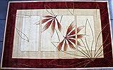 Karatcarpet Asiatischer Teppich Kurzflor Kollektion Lotos 552/120 Rot, Muster: Bordüre. (250x350 cm)