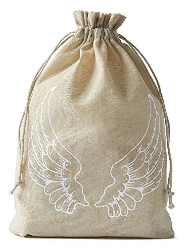 Leinensäckchen mit Engel-Flügel-Motiv und Baumwollkordel, Leinenbeutel-Geschenkverpackung, Dekoration (30 x 20 cm) ()