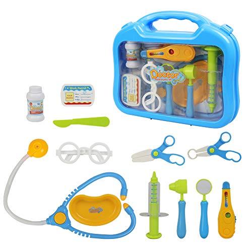 Jerryvon valigetta dottore giocattolo con accessori del dottore gioco di ruolo per i bambini 3 anni, blu
