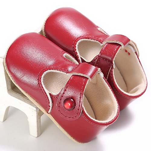 Baby Schuhe Auxma Baby weiche Sohle rutschfeste Schuhe Erste Wanderschuhe Prinzessin Schuhe Für 0-18 Monate (12 6-12 M, Weiß) Rot