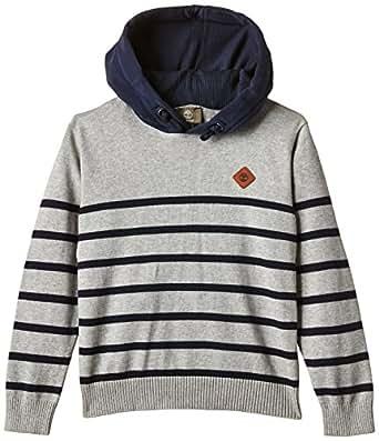Timberland T25J30 - Sweat-shirt à capuche - À rayures - Manches longues - Garçon - Gris (Grey Heather) - FR: 10 ans (Taille fabricant: 10 ans)