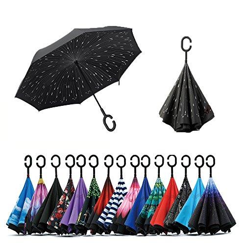 Jooayou Parapluie Inversé, Anti-UV Double Couche Coupe-Vent Parapluie, Mains Libres poignée en forme C Parapluie (Meteor)