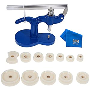 MMOBIEL 13tlg Set Druckwerkzeug Uhren Presse Rückseite Gehäuse Uhrenmacher Reparatur Werkzeug Kit mit 12 Nylondüsen