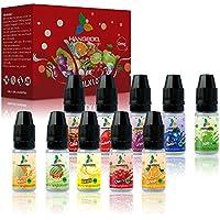 E Liquido Vaper sin Nicotina, 10 x 10ml Sabores Frutas Hangboo 50VG/50PG E-Liquid Set para Cigarrillos Electrónicos