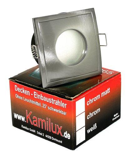 Aqua Square LED Feuchtraum IP65, NIEDERVOLT 12Volt MR16 Gu5.3, mit Power LED 5 Watt warmweiss Leuchtmittel inklusive, EINBAUTIEFE NUR 55 mm!! Bad Badezimmerstrahler, OUT65 OUT, eckig, quadratisch