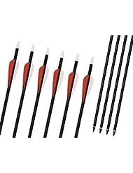 Flèches en Carbone Mixte Bangta, 31 pouces, 2 rouge 1 blanche, Encoche en plastique, Flèche remplaçable avec une vis, Flèche pour l'extérieur et la chasse, Tir à l'Arc, Sports et loisirs