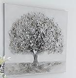 Casablanca Ölbild weiß grau silber Wand-Bld Wand-Deko Stammbaum Leinen Holz Metall Aluminium Applikationen 31982 90x70cm