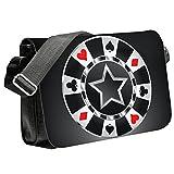 Casino 10010, Spiele, Unisex Schwarz Sublimation Reportertasche mit Verstellbare Schulterriemen un Farbig Design.Größe:Mittel-23x33x6cm