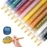 Acrylstifte Marker Stifte, Acryl-Paint Marker 12 Farben Permanent Marker Set Wasserfest Art Filzstift für Rock Malerei, Tasse Design, Keramik, Glas, Metall, Holz, Leinwand, DIY-Handwerk, Papier
