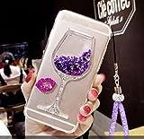 Artfeel Glitzer Flüssigkeit Hülle für Samsung Galaxy A8 2018, Glänzend Strass Fließen Treibsand Funkeln Sterne Weinglas Handyhülle,Ultra Dünn Kristall Weich Silikon Hülle mit Handschlaufe-Lila
