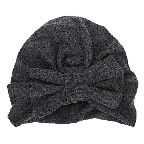Bobopai Kids Cap 0-2 Years Old,Newborn Toddler Kids Baby Boy Girl Bowknot Solid Color Turban Beanie Hat Headwear Hat Sleep Cap (Dark Gray) -