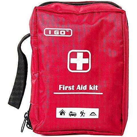 I GO Botiquín de primeros auxilios ultra-ligera y pequeña, Durable Nylon - Ideal para el coche, cocina, escuela, camping, senderismo, viajes, Oficina, Deportes, Caza y Home, Emergencia y Supervivencia
