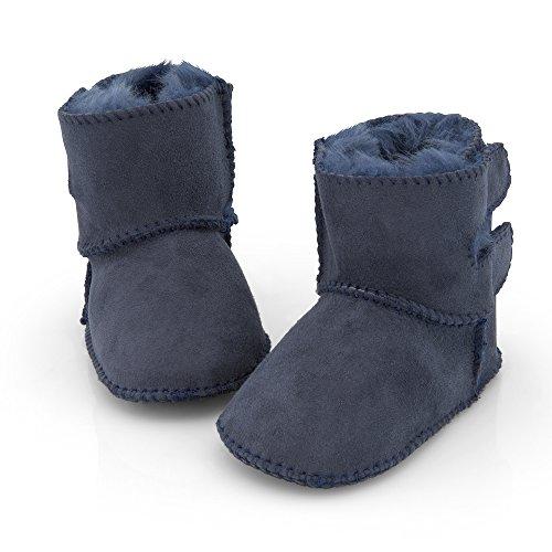 Lammfell Babyschuhe Klettverschluss blau 16/17 (doppelter Klettverschluss)