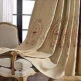 2er-Set Europäische Leinenvorhänge Blumen Luxuxjacquard-Vorhänge für Schlafzimmer Wohnzimmer(230*140cm,Beige)