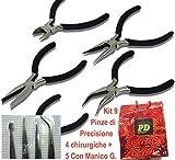 prodigital Set completo di 9 pinze per creare gioielli, artigianato e fai-da-te ed anche per lavori di precisoni elettronici : kit composto da 5 pinzette con manico + 4 pinzettine chirurgiche