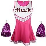 Disfraz de animadora, disfraz de High School Musical, con pompones, Women's, color rosa, tamaño Small