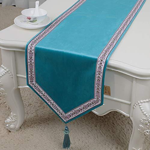 NKLHJ Tischläufer Mode Tischfahne Couchtisch Tv Tisch Schuhschrank Dekoration Beflockung Material Stoff Tischfahne (33 * 230Cm ((Himmelblau)