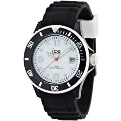 Ice-Watch Unisex Quartz Watch with White Dial Analogue Display and Black Silicone Strap SI.BW.U.S.12