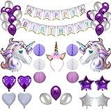 BRT Einhorn-Partei-Versorgungsmaterialien (Satz 56) umfassen Einhorn-Stirnband, enorme Einhorn-Ballone, alles Gute zum Geburtstag-Fahne, Bienenwaben-Bälle, Latex-Ballone, Folienherzstern Ballon, Laternen für Geburtstags-Party-Dekoration