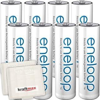 Kraftmax 8er-Pack Panasonic Eneloop AA / Mignon Akkus - Neueste Generation - Hochleistungs Akku Batterien in Kraftmax Akkuboxen V5, 8er Pack