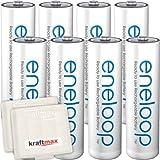 Kraftmax 8er-Pack Panasonic Eneloop AA/Mignon Akkus - Neueste Generation - Hochleistungs Akku Batterien in Kraftmax Akkuboxen V5, 8er Pack