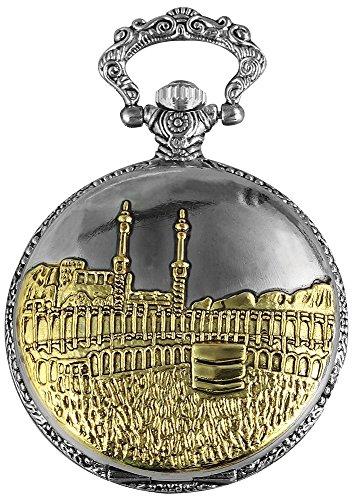 Taschenuhr inkl. Kette und Clip - Islam - Weiß Silber Gold Klassik Analog Quarz Metall Arabische Ziffern