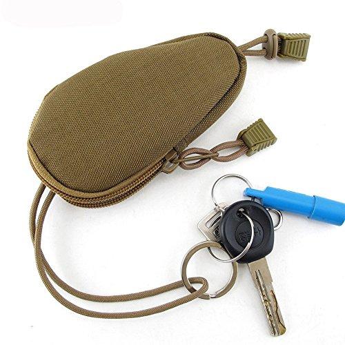 OneTigris Mini Outdoor EDC Tasche Geldbeutel Münzen Geldbeutel mit Innen Edelstahl-Schlüsselring (Braune)