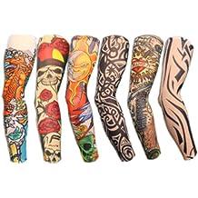 Autek - Pack 6 Juego de mangas con diseño de tatuajes, tatuajes temporales, disfraces originales para fiestas con amigos, halloween, carnaval