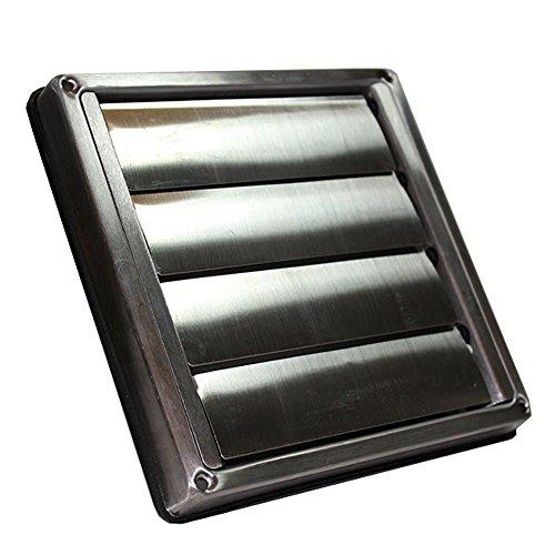 Invero® Universal Metall Gravity Gitter quadratisch Air Extractor Luftkanal Shutter Lasche Grill Einfahrbares Steckdose (10,2cm Zoll Durchmesser/100mm)-Edelstahl (Waschmaschine Extractor)