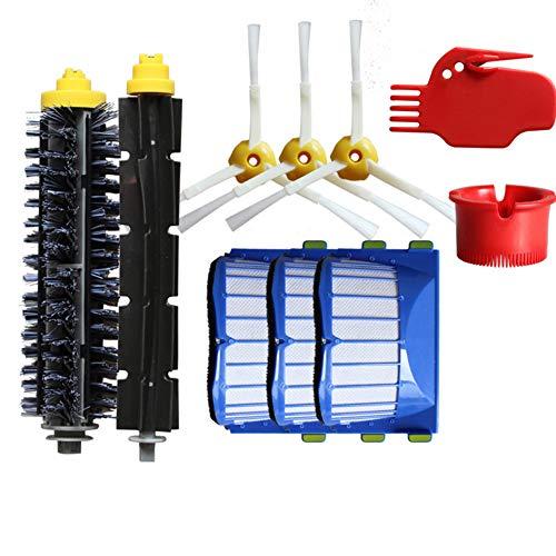 LanLan Set di parti di ricambio per iRobot Roomba 600 610 620 Serie 650, 2 Spazzole a rullo + 3 spazzole laterali + 3 filtri + 2 detergenti per aspirapolvere