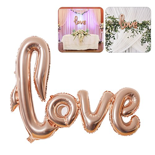 NUOLUX Jumbo Foil Love Balloon romántica boda nupcial ducha aniversario de compromiso fiesta decoración (rosa)