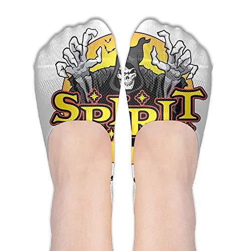 jiilwkie Halloween Skeleton Elasticity Cotton Low Cut Socks Fun Colorful No Show Socks for Women -
