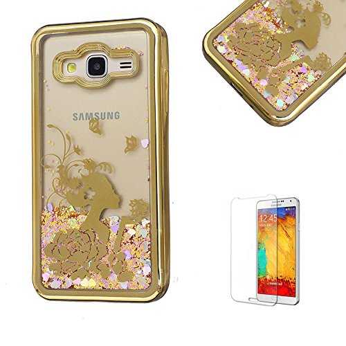 Product Image of For Samsung Galaxy J3(2016 Model) Case J310 Cover, Funyye New Creative Floating Water Liquid Small Love Hearts Design Luxury Sparkly Lovely (Gold) Electroplate Plating Frame Crystal Design for Samsung Galaxy J3(2016 Model)- Flower Girl