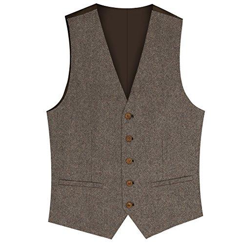 Herren 4-taste (Zicac Herren Top Entworfene Beiläufige Slim Fit Dünnes Kleid Weste 2 Taschen Doppel 4 Tasten Tweed Einzigartig Fortgeschritten Anzug (Braun, XL))