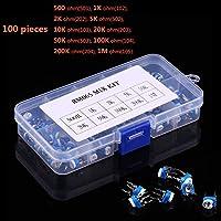 Yiwa 100pcs 10 Value Potenciómetro Trimpot Kit de Caja de Surtido de Resistencia Variable RM065
