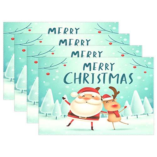 Vinlin Platzdeckchen mit Weihnachtsmann und Rentier-Motiv, hitzebeständig, 30,5 x 45,7 cm, Multi, 6...