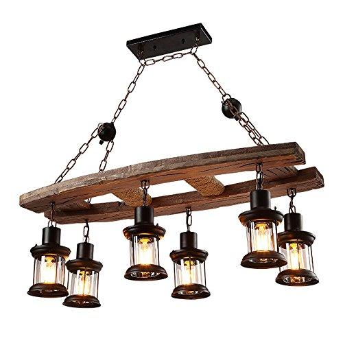 OOFAY Kronleuchter Einfach Retro Wohnzimmer Esszimmer 6 Holz Deckenleuchten Industrielle Stil Café Bar Holz Lampe Dekorative Lampen (Dekorative Deckenleuchte)