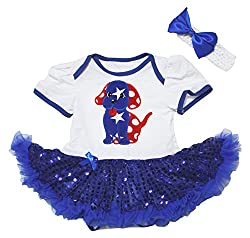 4th July Baby Dress Starry Dog White Bodysuit Blue Sequins Tutu Romper Nb-18m