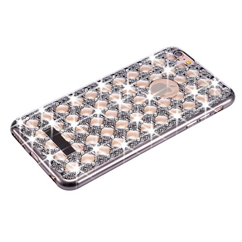 Wkae Case & Cover Pour iPhone 6 Plus &6s plus Agate &diamant Encrusted Electroplating TPU protection Retour Housse ( Color : Rose Gold ) noir