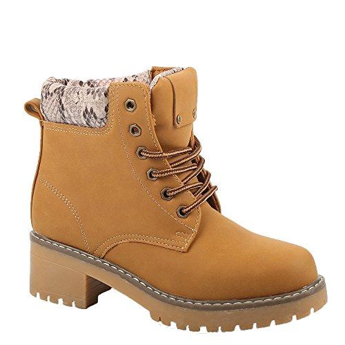 Ideal Shoes - Bottines style randonnée avec patch à motif Santina Serpent