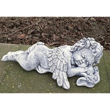 Steinfigur kleiner Engel kniend Grabschmuck Steinguss Frostfest