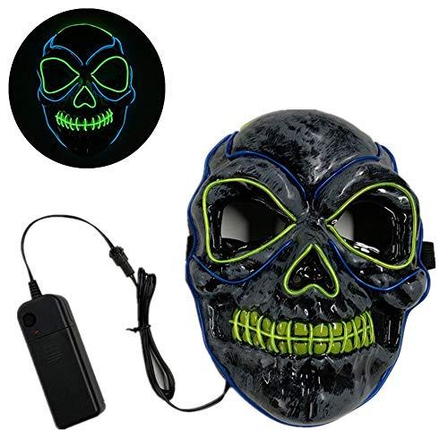 MONWSE Schädel Halloween Maske LED Licht Up Lustige Masken Purge Wahl Jahr Große Festival Cosplay Kostüm Liefert Horror Party Maske